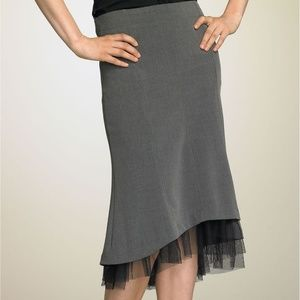 Fleurish Tulle Hem Skirt in Gray w/ Black Tulle